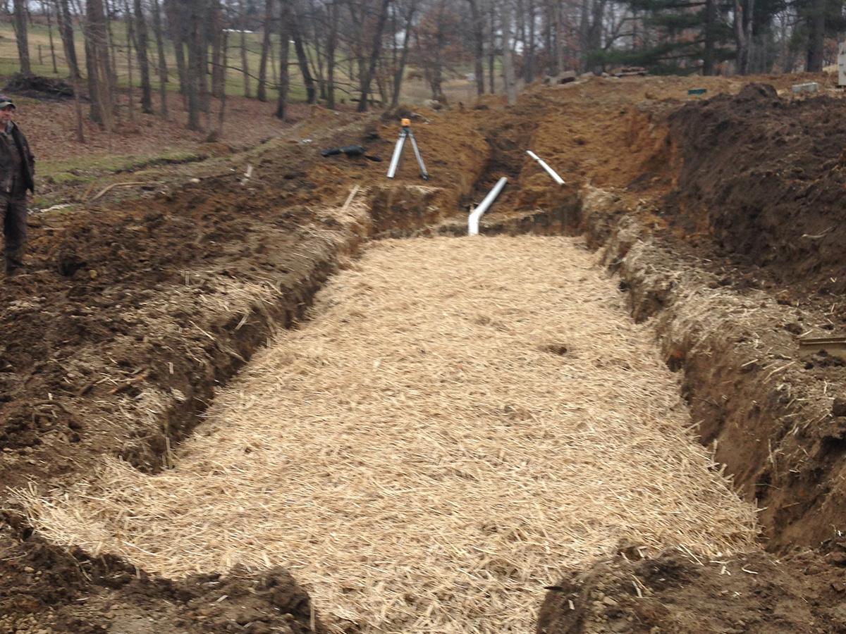 filter bed installation septic tanks