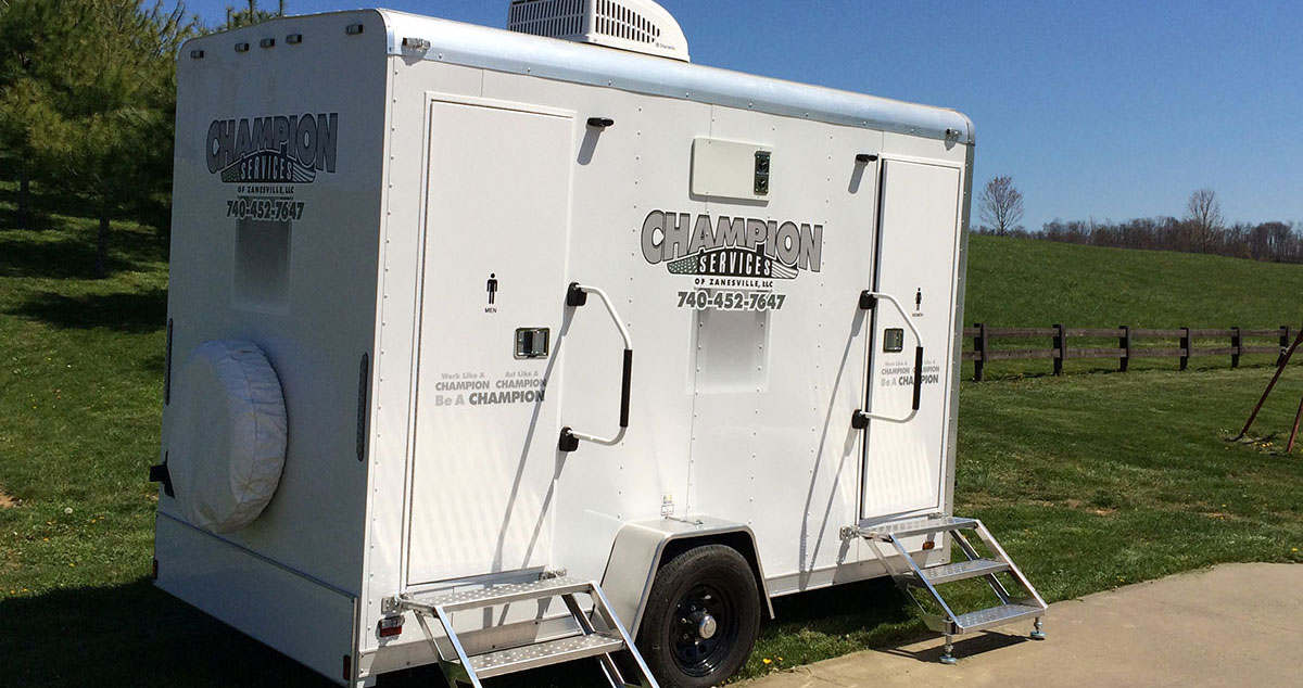 Champion services portable restroom trailers heated cooled